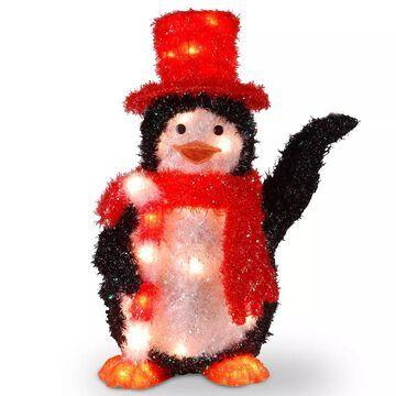 National Tree Company Candy Cane Penguin Christmas Table Decor, Black