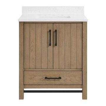 allen + roth Brawley 30-in Rustic Oak Undermount Single Sink Bathroom Vanity with Carrara Engineered Marble Top in Brown   1960VA-30-277-925-UM