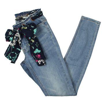 Rampage Womens Juniors Sophie Grommet Ripped Skinny Jeans
