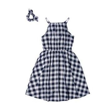 Big Girls High Neck Challis Dress with Matching Scrunchie