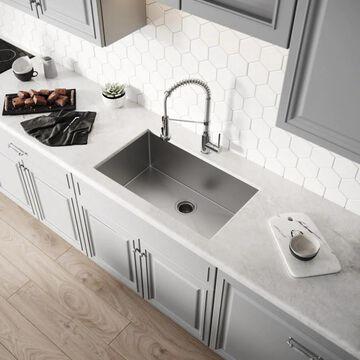 Kraus Handmade Undermount 30-in x 18-in Stainless Steel Single Bowl Kitchen Sink | KHU100-30
