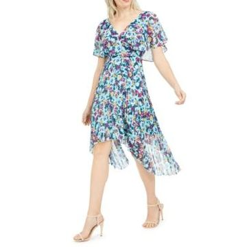 kensie Flutter-Sleeve Floral Pleated Midi Dress
