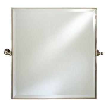 Afina Radiance Gear Tilt Beveled Mirror w/ Trim, Satin Nickel, Square