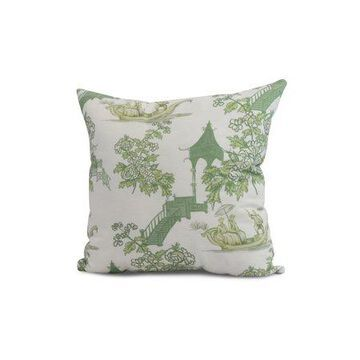 Simply Daisy, 26 x 26 inch, China Old Floral Print Pillow, Green
