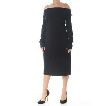 NARCISO RODRIGUEZ Black Long Sleeve Below The Knee Dress 10