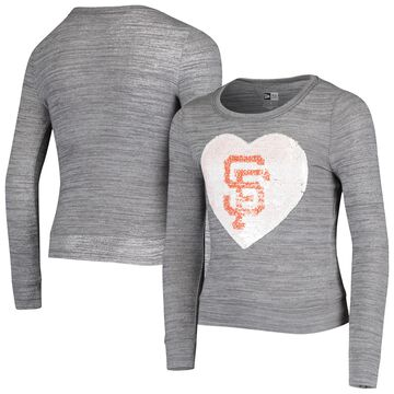 5th & Ocean by New Era San Francisco Giants Girls Youth Heathered Gray Sequin Heart T-Shirt