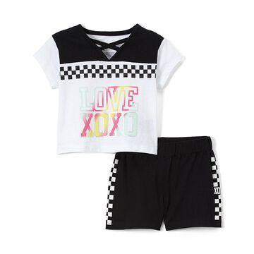 Black 'Love' Strap-Accent V-Neck Tee & Black Shorts - Toddler & Girls