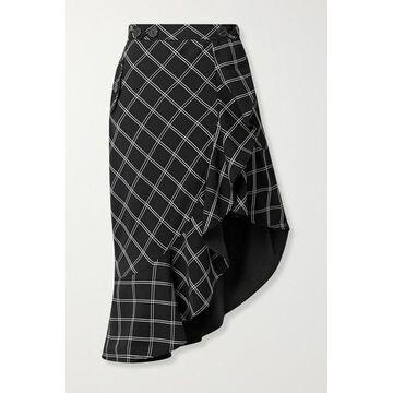 Self-Portrait - Asymmetric Ruffled Checked Jacquard Skirt - Black