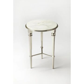 Handmade Darrieux White and Silvertone Iron and Aluminum End Table (India) (Silver)