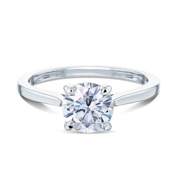 Annello by Kobelli 14k Gold 1ct Round Moissanite Taper Shank Cathedral Basket Prong Solitaire Engagement Ring