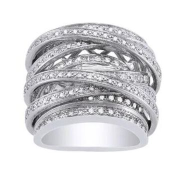 10k White Gold 1 1/2 carats TDW Multi-Row Crossover Diamond Ring by Beverly Hills Charm (5)