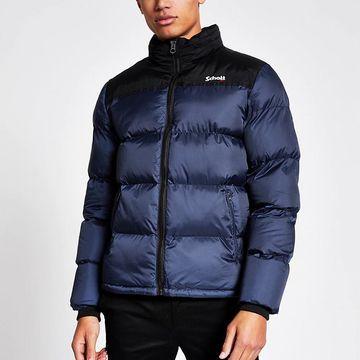 blue colour block padded jacket