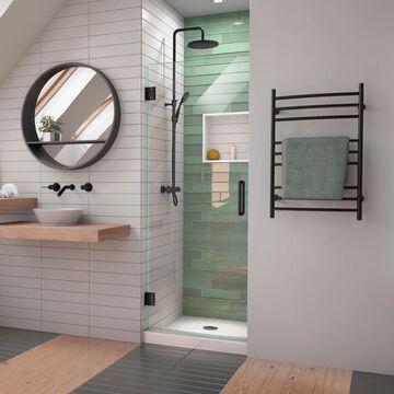 DreamLine Unidoor-LS 72-in H x 30-in W Frameless Hinged Satin Black Shower Door (Clear Glass) | SHDR-2030722-09