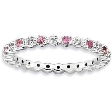 Pink Tourmaline and Diamond Sterling Silver Ring