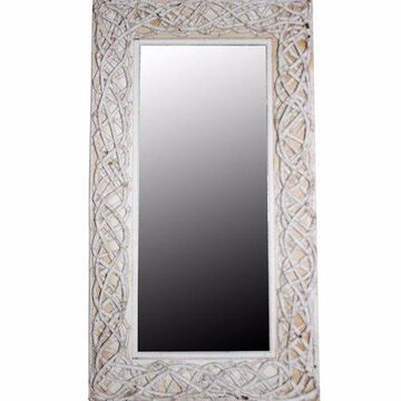 Benzara BM165235 Mirror with Rattan Frame, White