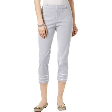 Charter Club Womens Seersucker Slim Cropped Pants