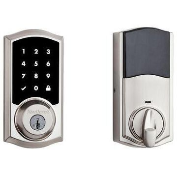 Kwikset 915 Touchscreen Electronic UL Deadbolt featuring SmartKey Security and Tustin Lever in Venetian Bronze/Satin Nickel