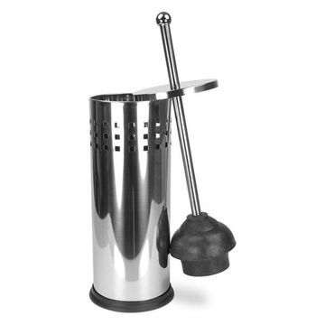 Home Basics Silver Stainless Steel Toilet Plunger and Holder