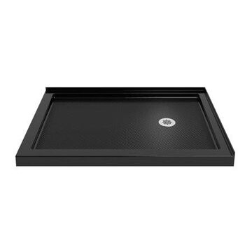 DreamLine SlimLine 34 in. D x 48 in. W x 2 3/4 in. H Right Drain Double Threshold Shower Base in Black