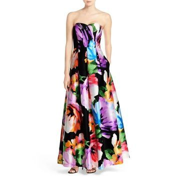 Ellen Tracy Womens Gown Black Size 12 Floral Print Strapless Pleated