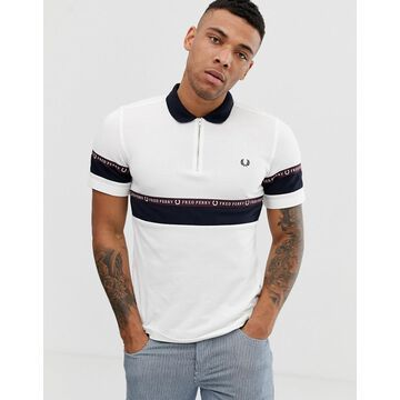 Fred Perry zip neck taped logo polo in white