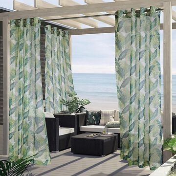 """Commonwealth Home Fashions 96"""" Bonaire Botanical Outdoor Curtain Panel In Green (Single)"""