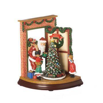 Roman 9 Inch Led Open Doo Santa Musical Santa Tabletop Decor