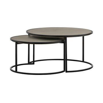 Armen Living Rina Gray Concrete Coffee Table in Black   LCRICOCCGR