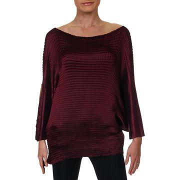 Issey Miyake Womens Pleats Please Dolman Designer Pullover Top