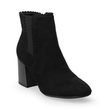 LC Lauren Conrad Sofiaa Women's Scallop Edge Ankle Boots, Size: 10, Black