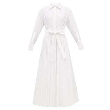 Valentino - Pleated Cotton-blend Maxi Shirt Dress - Womens - White