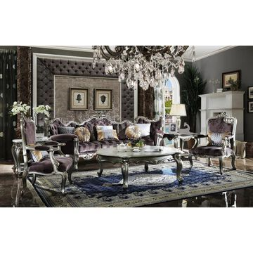 ACME Picardy Chair with 1 Pillow in Velvet and Antique Platinum