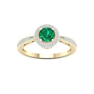Imperial Gemstone 10K Yellow Gold Round Cut Emerald 1/8 CT TW Diamond Halo Women's Ring