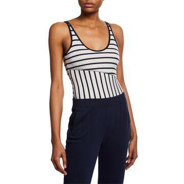 Striped Scoop-Neck Sleeveless Micromodal Bodysuit