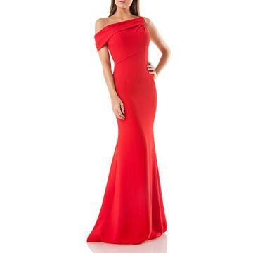 Carmen Marc Valvo Womens One Shoulder Trumpet Evening Dress