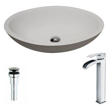 ANZZI Maine Series ANZZI Stone Vessel Sink with Key Faucet, Polished Chrome