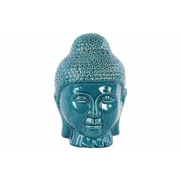 Buddha Head with Rounded Ushnisha Gloss Finish - Blue - Benzara