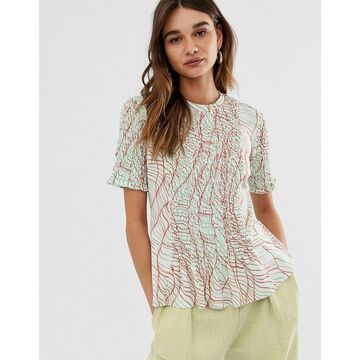 ASOS WHITE linear print ruched front tee-Beige