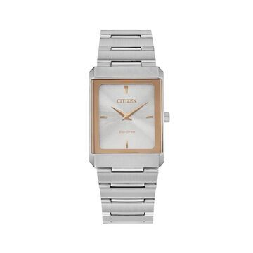Citizen Eco-Drive Stiletto Two-Tone Watch with Rectangular Silver-Tone Dial (Model: EG6016-58A)