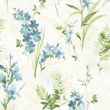 Brewster Floral Teal Driselle Wallpaper