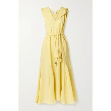 Lisa Marie Fernandez - Marguerite Belted Metallic Linen-blend Gauze Midi Dress - Yellow