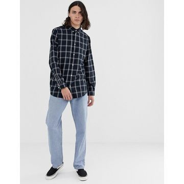Weekday Ray windowpane check shirt in navy