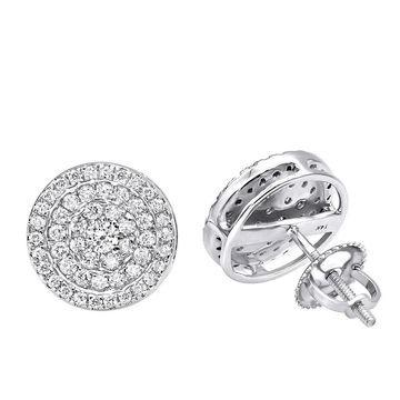 Pave Diamond Earrings for Men & Women 14k Gold 3/4ct Studs Real Diamonds by Luxurman