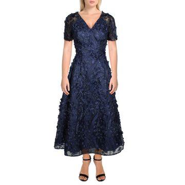 Carmen Marc Valvo Womens Fit & Flare Dress Embroidered V-Neck - Navy