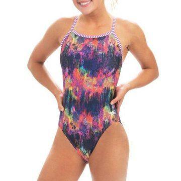 Dolfin Uglies Women's Print V-2 Back One Piece Female Training Swimsuit in City Lights, Size 32