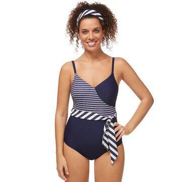 Women's Amoena Infinity Pool UPF 50 One-Piece Swimsuit, Size: 10C, Blue