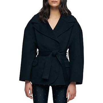 Maje Belted Double Face Wool Blend Coat