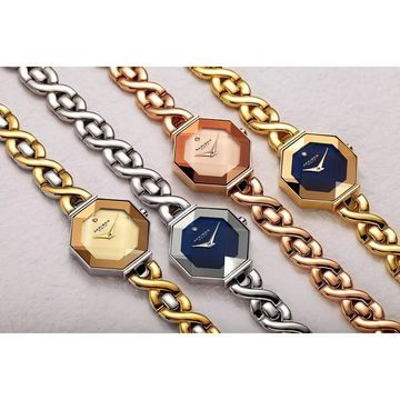 Akribos XXIV Ladies Chic Diamond Hexagonal Twisted Link Bracelet