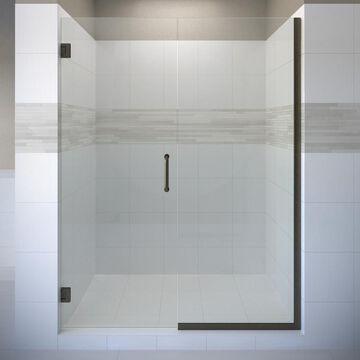 Basco Celesta 72-in H x 46.0625-in to 47-in W Frameless Pivot Oil Rubbed Bronze Shower Door (Clear Glass)