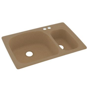 Swanstone 33-in x 22-in Barley Double-Basin Drop-in 2-Hole Residential Kitchen Sink